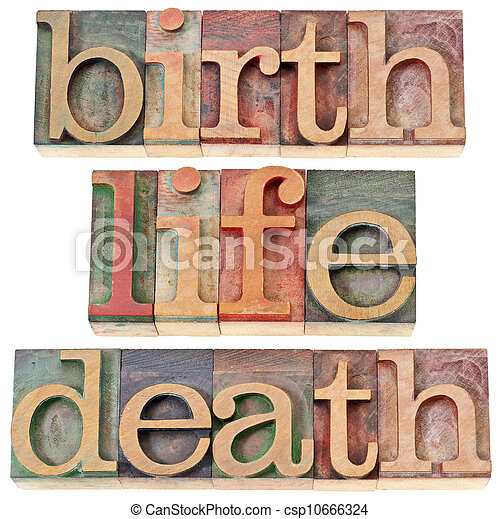 birth, life, and death words - csp10666324