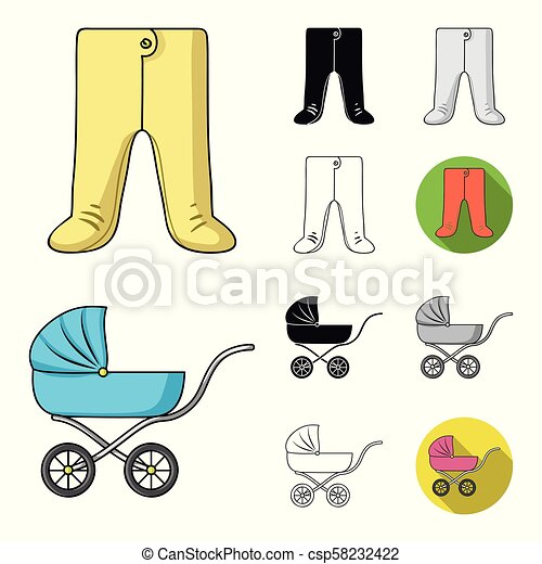 Birth of a baby cartoon, black, flat, monochrome, outline icons in set collection for design. Newborn and accessories vector symbol stock web illustration. - csp58232422