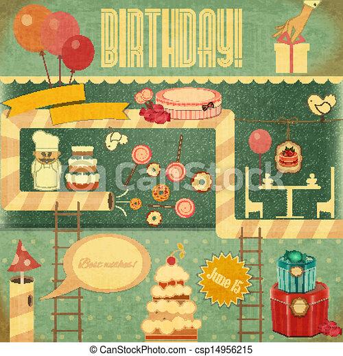 birthday, レトロ, カード - csp14956215