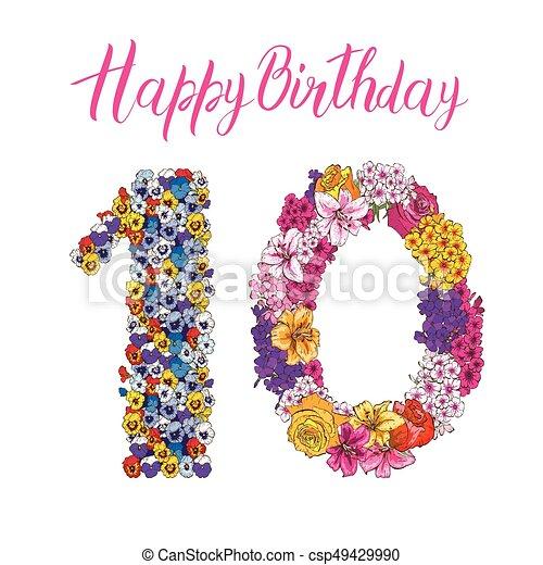 birthday, 別, 作られた, カラフルである, 10, アルファベット, ディジット, イラスト, 要素, flowers., ベクトル, 花, inscription., 幸せ - csp49429990