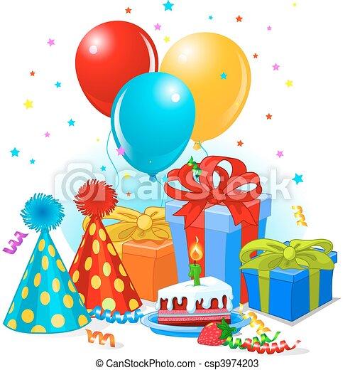 birthday, 装飾, 贈り物 - csp3974203