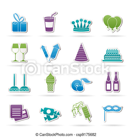 birthday and party icons - csp9175682