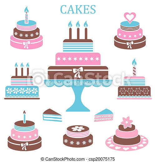 Birthday and wedding cakes - csp20075175