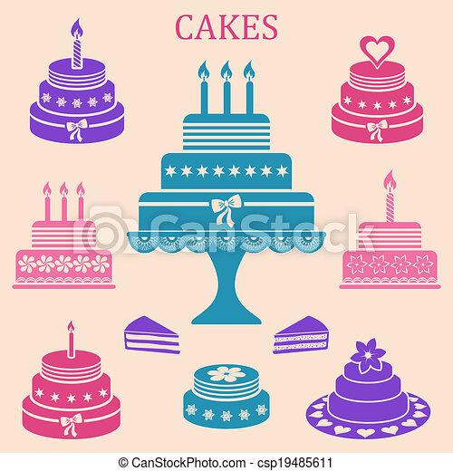 Birthday and wedding cakes - csp19485611