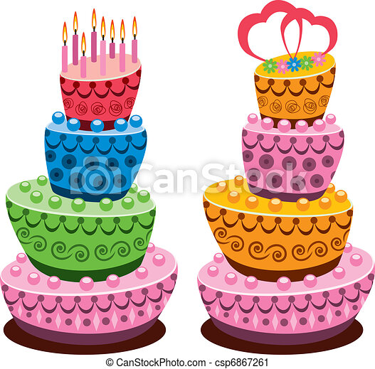 birthday and wedding cakes - csp6867261