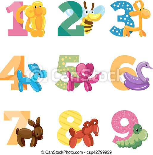 Birthday anniversary cartoon numbers with cute balloon vectors birthday anniversary cartoon numbers with cute balloon animals for baby party vector template invitation cards stopboris Images