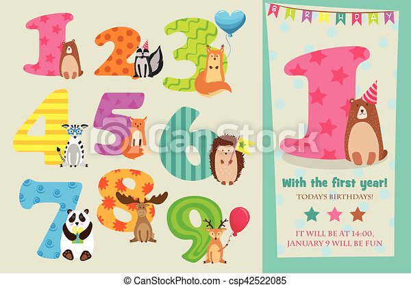 Birthday Anniversary Numbers With Cute Animals Party Invitation Card Template