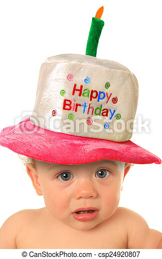 Birthday Baby One Year Old Girl With Happy Hat