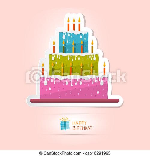 Birthday Background Illustration with Cake - csp18291965
