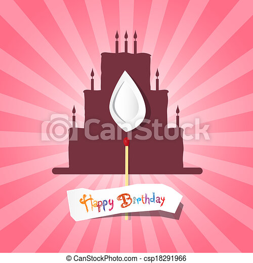 Birthday Background Illustration with Cake Silhouette - csp18291966