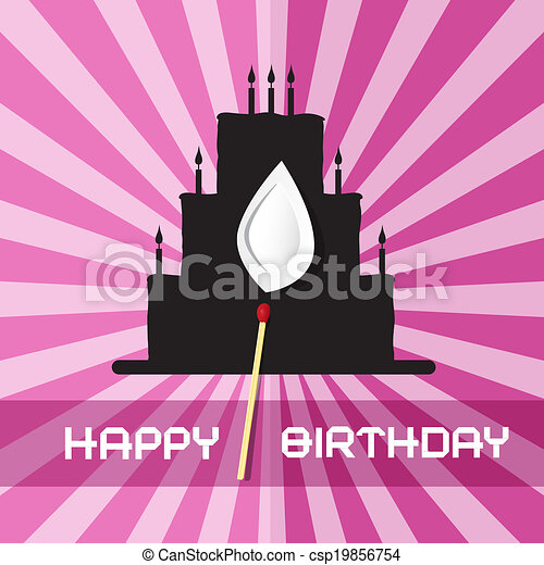 Birthday Background Illustration with Cake Silhouette  - csp19856754