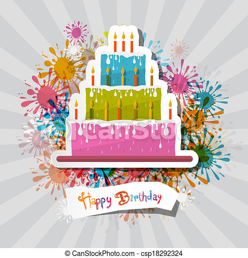 Birthday Background Illustration with Cake - csp18292324