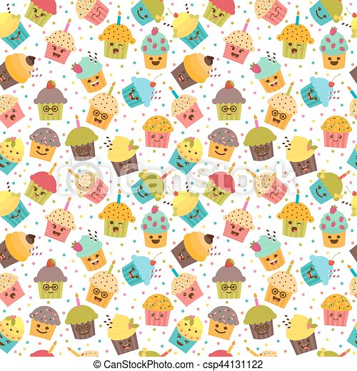 Birthday Background Kawaii Cupcakes Seamless Pattern With And Muffins Cute Cartoon