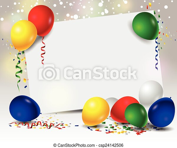 birthday background with balloons  - csp24142506
