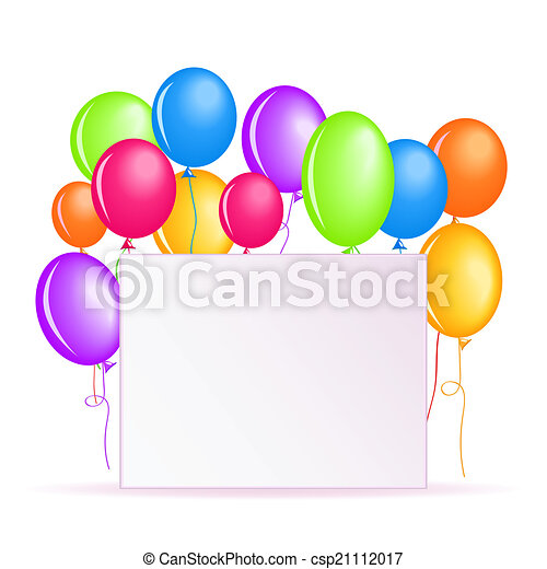 birthday background with colorful balloons and square place rh canstockphoto co uk