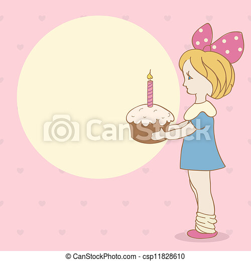 Birthday Background With Girl And Cake Invitation Card With Girl