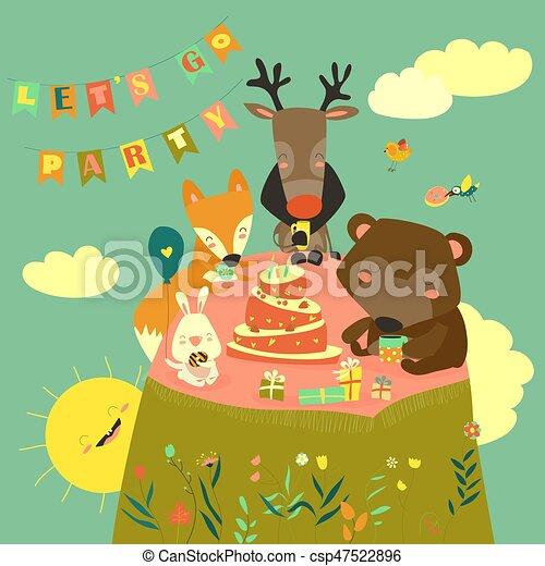 Birthday background with happy animals - csp47522896