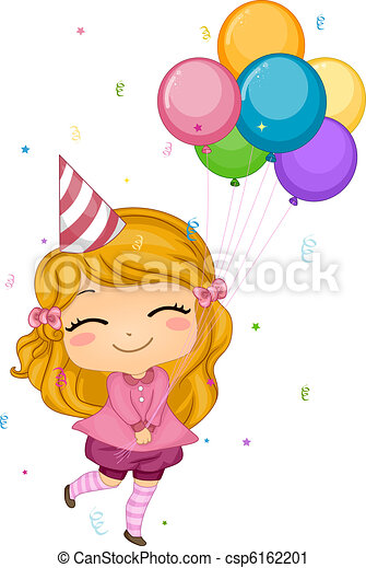 illustration of a girl holding birthday balloons rh canstockphoto com birthday girl clip art free cute birthday girl clipart