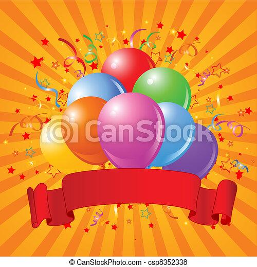 Birthday Balloons Design With Confetti