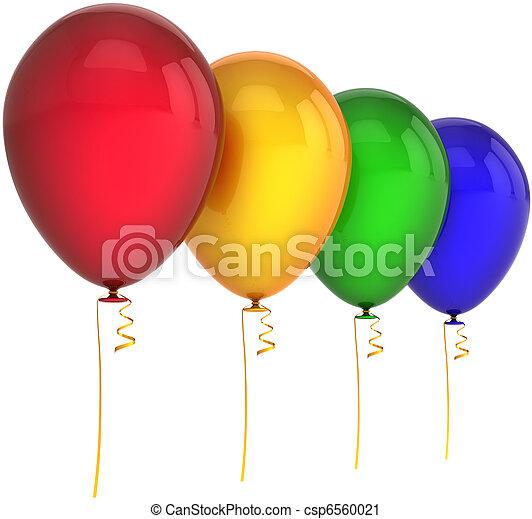 Birthday balloons four colors - csp6560021