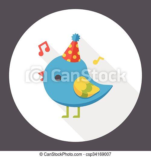 Birthday bird flat icon - csp34169007