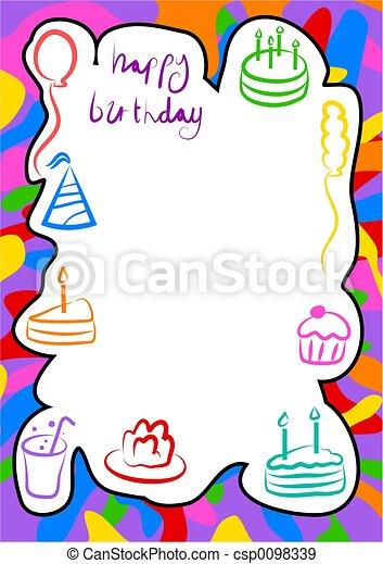 Birthday border. Birthday frame design.
