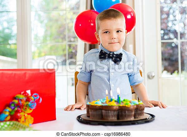 Awe Inspiring Birthday Boy With Cake And Present On Table Birthday Boy With Personalised Birthday Cards Veneteletsinfo
