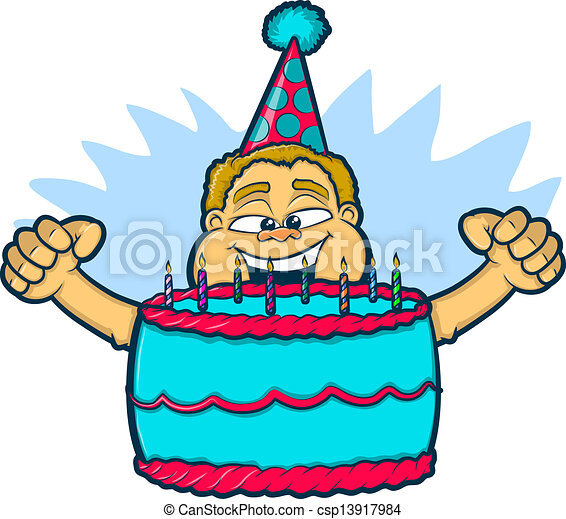 birthday boy with cake illustration of an excited boy vector rh canstockphoto com happy birthday boy clipart birthday boy clipart images