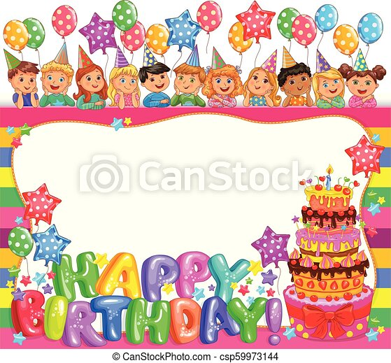 Birthday bright frame with cake and cute kids - csp59973144