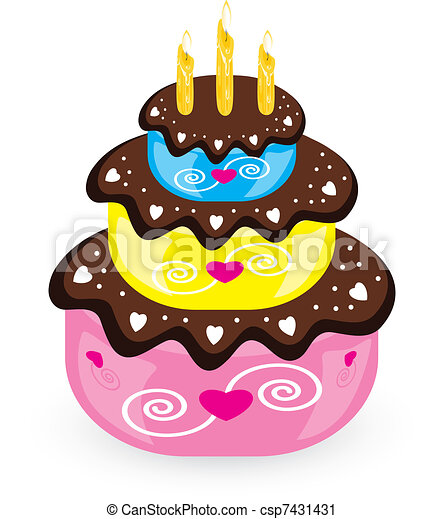 Birthday cake and candle - csp7431431