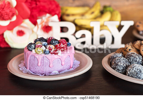 Birthday Cake And Muffins With Wooden Greeting Sign On Dark Background Sing Letters