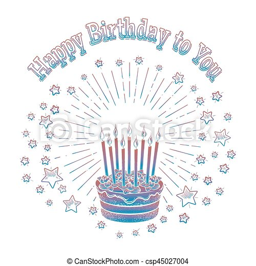 Birthday Cake And Stars Card Template   Csp45027004