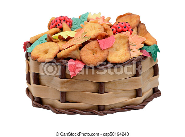 Sensational Birthday Cake Autumn With Chanterelle Leaves And Berries Isolated Funny Birthday Cards Online Unhofree Goldxyz