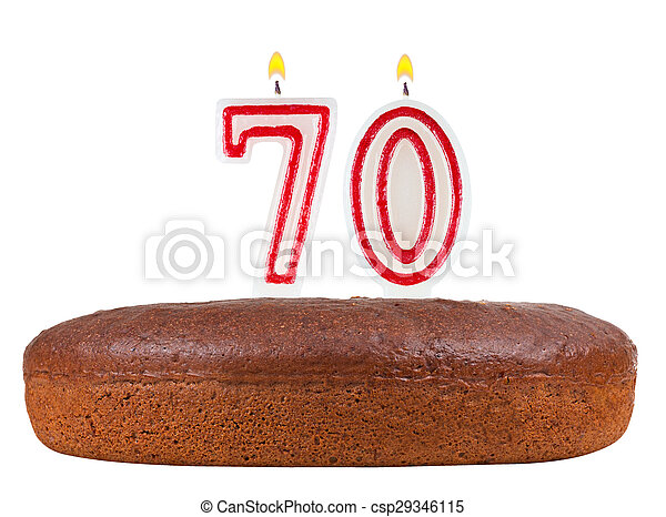 Birthday Cake Candles Number 70 Isolated