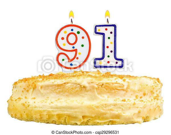 Birthday Cake Candles Number Ninety One Isolated