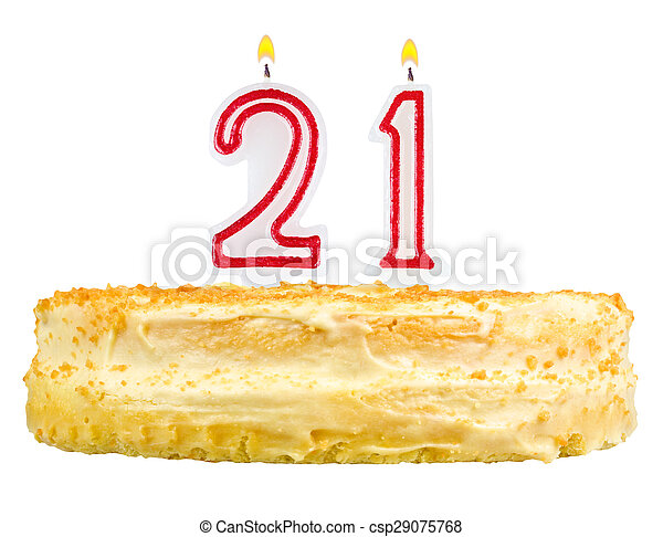 Birthday Cake Candles Number Twenty One Isolated