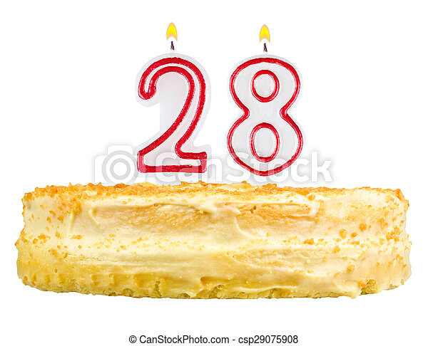 Birthday Cake Candles Number Twenty Eight Isolated Birthday Cake