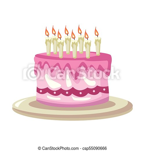 Swell Birthday Cake Cartoon Vector Illustration Graphic Design Funny Birthday Cards Online Alyptdamsfinfo