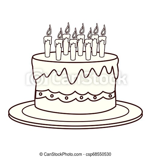Sensational Birthday Cake Cartoon In Black And White Vector Illustration Funny Birthday Cards Online Alyptdamsfinfo