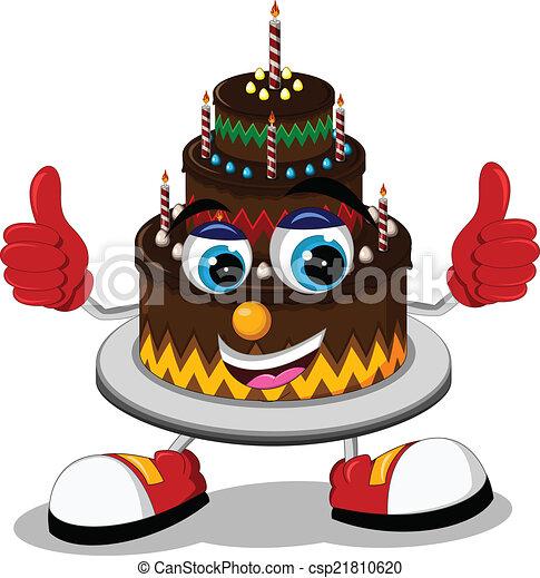 Birthday cake cartoon thumb up - csp21810620