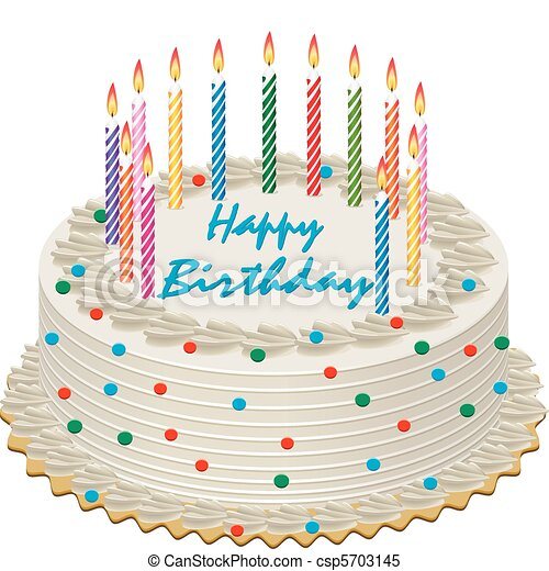 Magnificent Vector Birthday Cake With Burning Candles Personalised Birthday Cards Veneteletsinfo