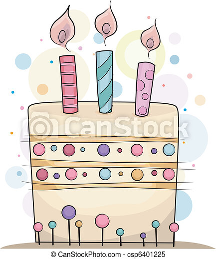 Illustration Of A Birthday Cake With Candles On Top