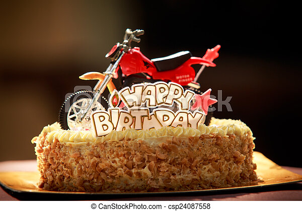Stock Images of Birthday cake decorated with motorcycle and red