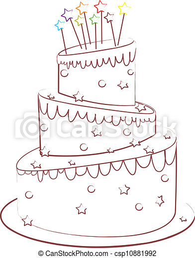 birthday cake Beautiful cake isolated on white backgroune eps