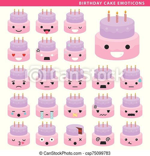 Awe Inspiring Birthday Cake Emoticons Set Of Cake Emoticons With Different Funny Birthday Cards Online Unhofree Goldxyz