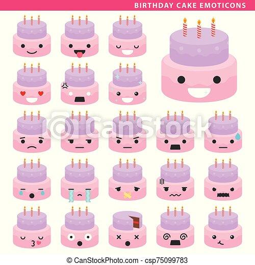 Surprising Birthday Cake Emoticons Set Of Cake Emoticons With Different Funny Birthday Cards Online Amentibdeldamsfinfo