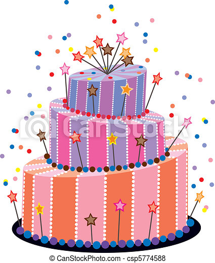 Vector big birthday cake vector Search Clip Art Illustration