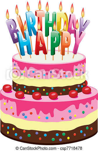 Birthday cake Vector delicious cake with cherries and vector