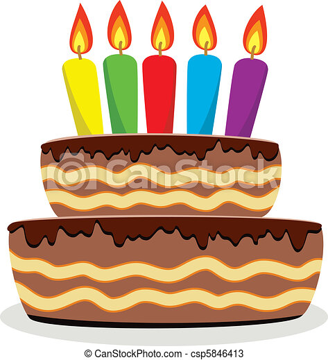 Vector birthday cake with burning candles vectors Search Clip Art