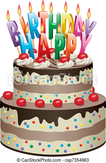 Birthday cake Vector delicious chocolate cake with vectors